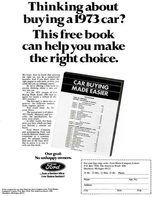 70's print ad for a free book from Ford Motor Company