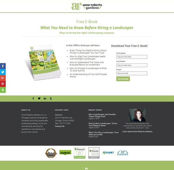 Landing page for free ebook