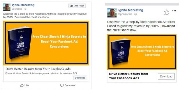 Format of Facebook desktop and mobile ads