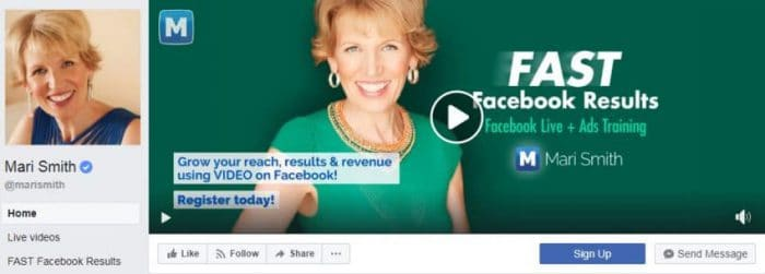 Business's Facebook Page cover image use video to generate leads