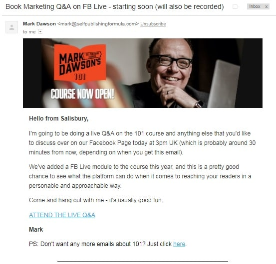 Email blast for live stream Q&A