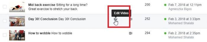 Edit video icon