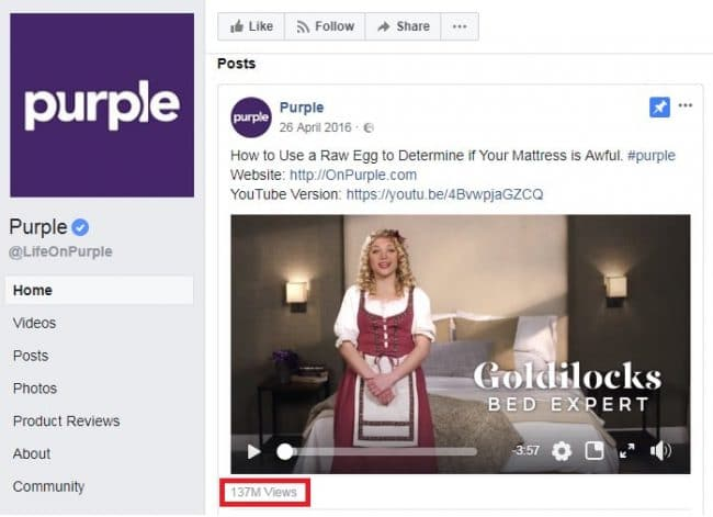 Purple video views