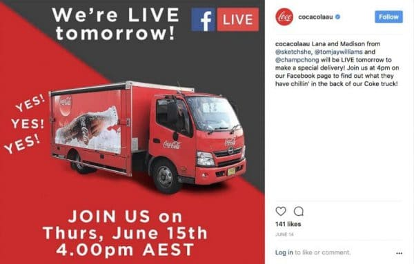 Coca-Cola Australia Instagram Post for Facebook Live