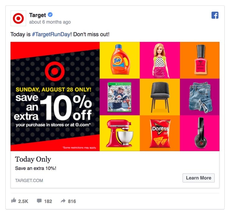 Target's today only Facebook Ad
