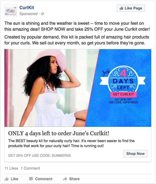 Curlkit facebook ad scarcity 4 days left