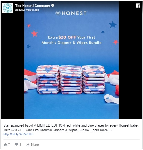 Honest Company offered a discount on limited-edition star-spangled diapers