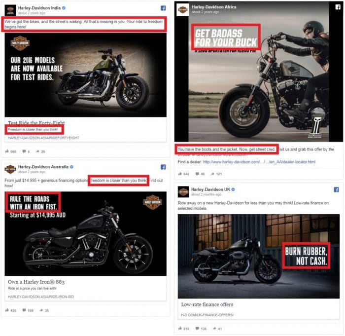 Harley Davidson is all about freedom and being a rebel