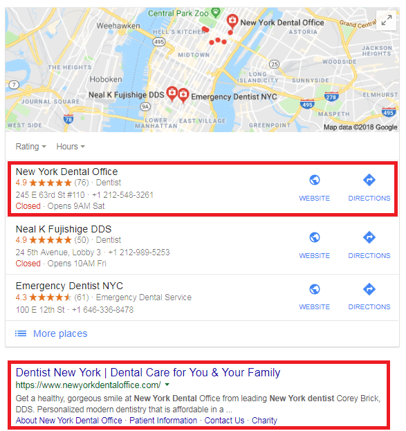 results of their local on-page SEO efforts MAP pack and organic search