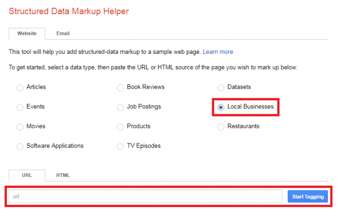 "Google's Structured Data Markup Helper and check the ""Local Businesses"