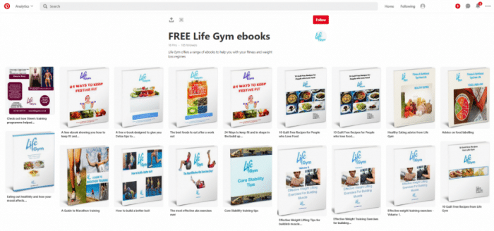 Curating your lead generation images in a single place like Swansea-based Life Gym did on a Pinterest board
