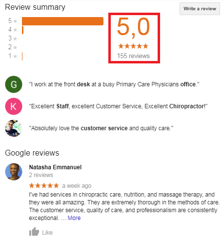 Reviews appears in both the Map Pack and organic results