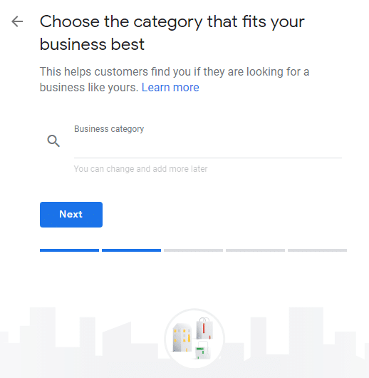 Google will suggest categories as you type
