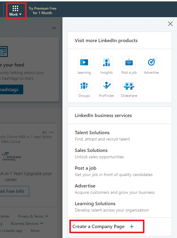 On LinkedIn select 'Create a Company Page' from the menu