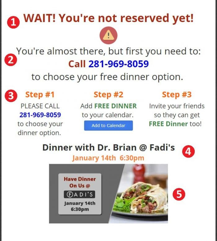Thank You page chiropractor's dinner campaign