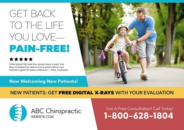 Example of a chiropractic postcard.