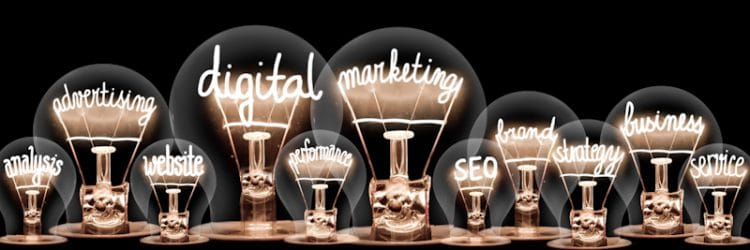 light bulbs with marketing lettering
