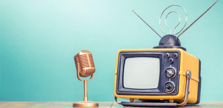 old timey tv and microphone