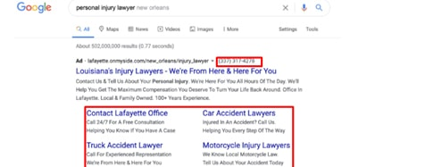examples of Google ads for lawyers