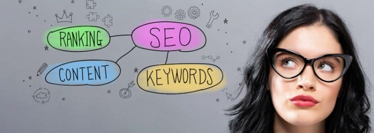 seo keywords ranking content banner with girl looking