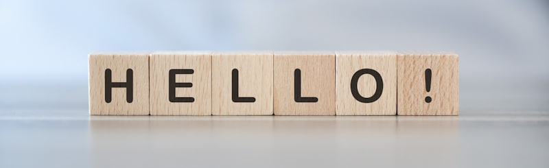 hello greeting spelled on wooden blocks